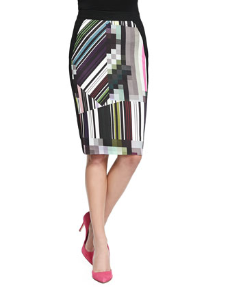 Jera Graphic-Print Pencil Skirt