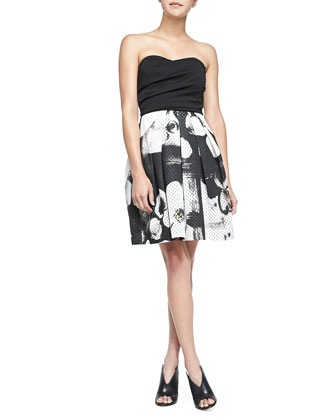 Jordan Strapless Printed-Skirt Dress