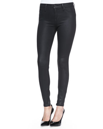 Faustina Satin Bow-Neck Blouse & Zipped-Cuff Super Skinny Pants