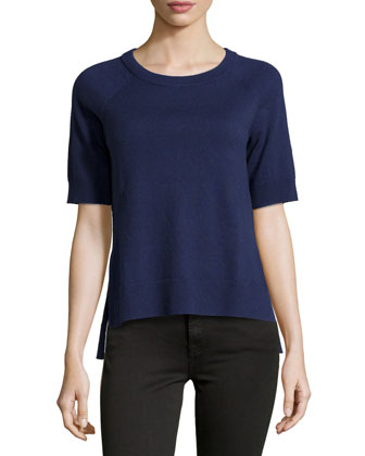 Short-Sleeve High-Low Top, Indigo