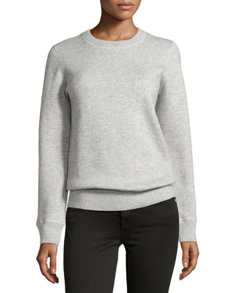 Long-Sleeve Cashmere-Blend Sweatshirt, Pearl Melange