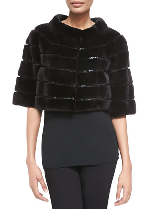 Sequined/Mink Fur Cropped Jacket