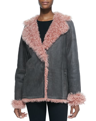 Leather/Shearling Fur Duffle Jacket, Dusk