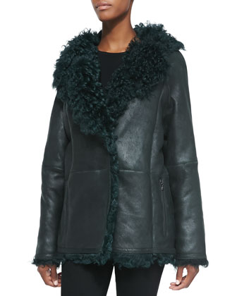 Leather/Shearling Fur Duffle Jacket, Hunter