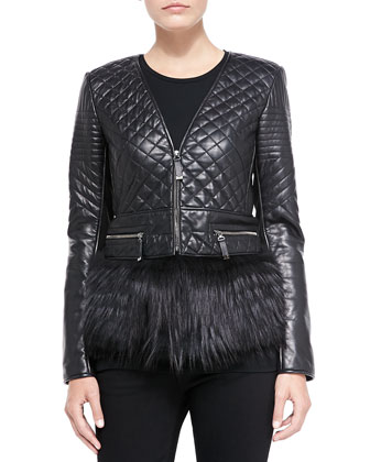 Quilted Leather/Fox Fur Jacket