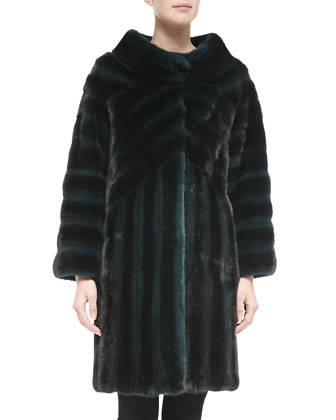 Geometric-Pattern Mink Fur Coat