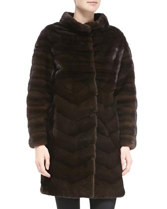 Chevron-Pattern Mink Fur Coat