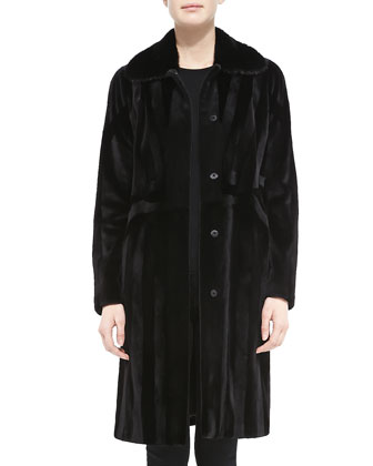 Long Paneled Mink Fur Coat