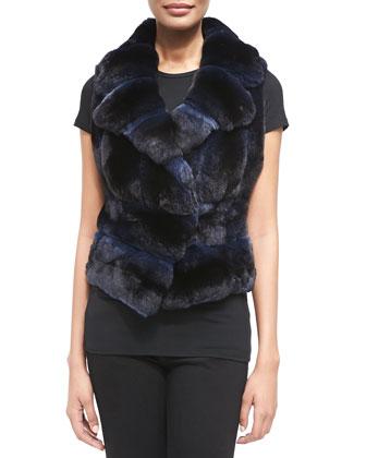Notch-Collar Chinchilla Fur Vest