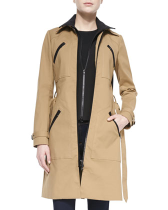 Scuba Dickey Trench Coat, Tiered Muscle Tee & Flare-Leg Dark Stretch Jeans ...