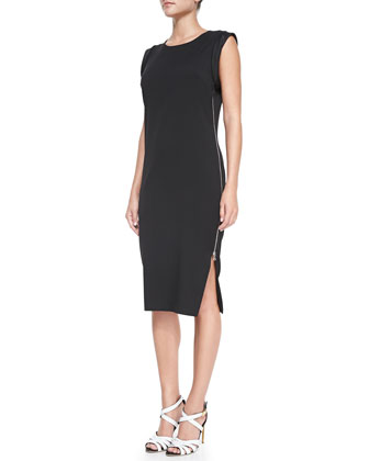 Rolled-Sleeve Zip-Detail Sheath Dress