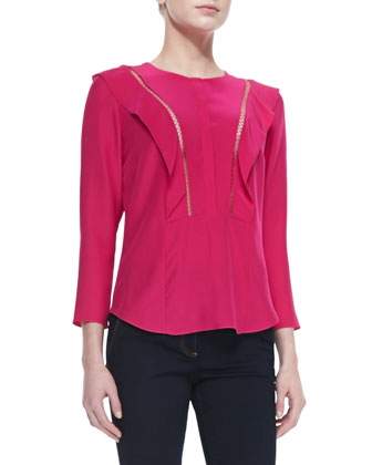 Flutter-Panel Silk Cutout Blouse & Flare-Leg Dark Stretch Jeans