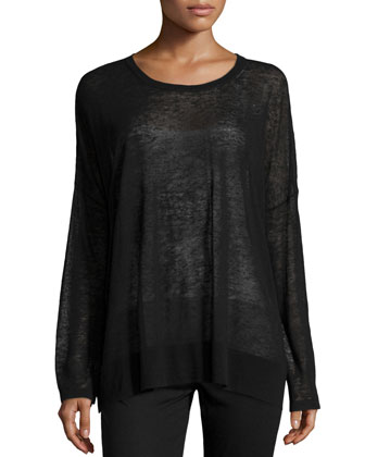 Long-Sleeve Sheer Knit Top, Black