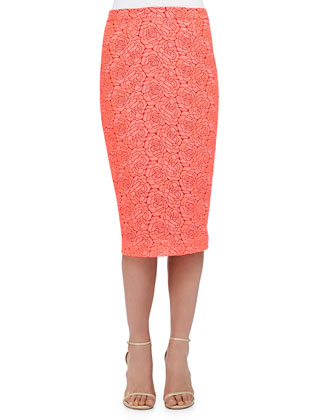 Towner Rose-Pattern Pencil Skirt