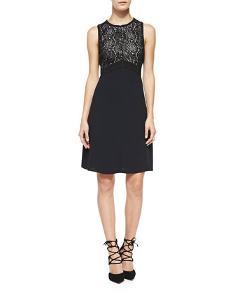Varney Sleeveless Floral Lace-Bodice Dress
