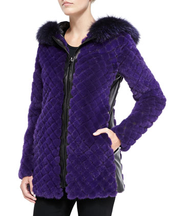Quilted Fur/Leather Hooded Coat