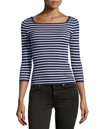 Striped Cashmere 3/4-Sleeve Top, Indigo/White