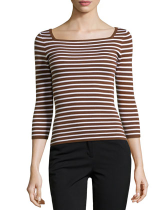 Striped Cashmere 3/4-Sleeve Top, Nutmeg