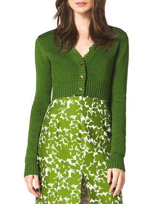 Cropped Cashmere Cardigan, Grass