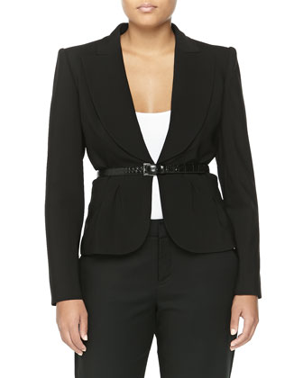 Crepe Short Wool Belted Jacket, Black