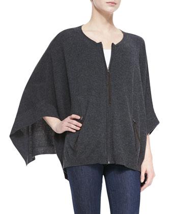 Cashmere Front-Zip Poncho w/ Pockets