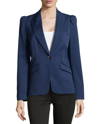 Puff-Shoulder Wool Blazer, Indigo
