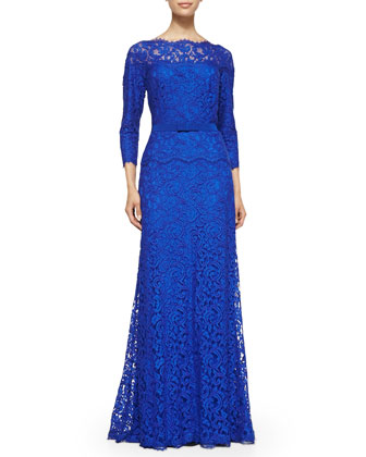 3/4-Sleeve Lace Belted-Waist Gown