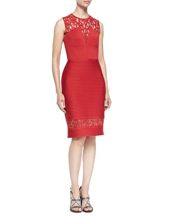 Lace Illusion Dress W/ Pintucked Bodice