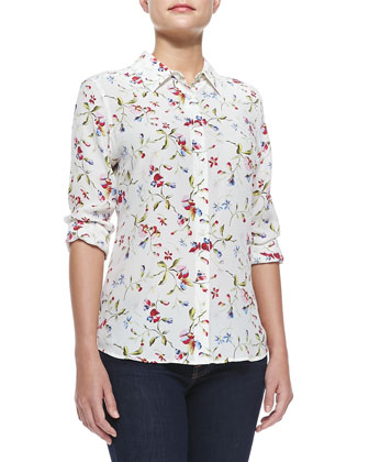 Brett Floral-Print Silk Blouse