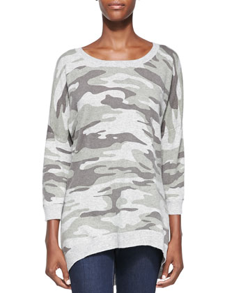 Camouflage Cashmere High-Low Pullover