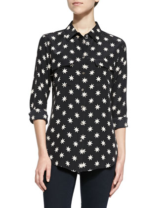 Slim Signature Star-Print Blouse