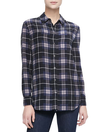 Reese Long-Sleeve Plaid Blouse