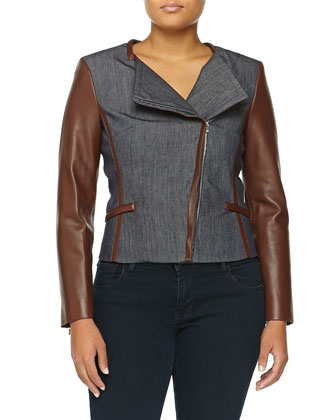 Denim Moto Jacket W/ Leather