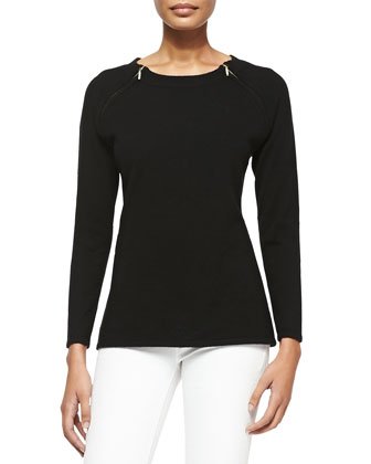 Cashmere Pullover Sweater with Shoulder Zips