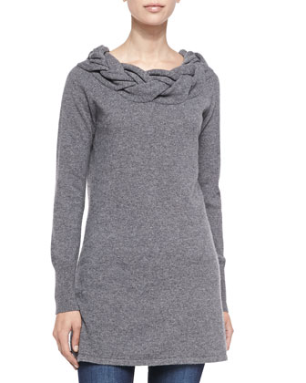 Braided-Neck Cashmere Sweater, Grey