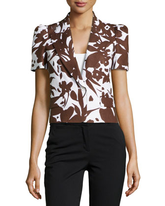 Floral Short-Sleeve Jacket, White/Nutmeg