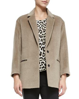 Sigrid 2-Button Wool-Blend Coat, Fleet Sleeveless Leopard-Print Top & ...