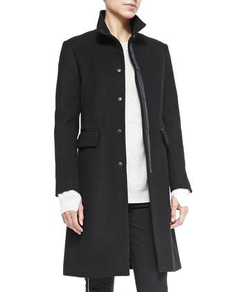 Parker Long Coat w/ Leather Elbows, Cashmere Valentina Crewneck Tunic & ...