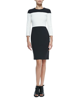 Carola Long-Sleeve Fitted Colorblock Dress