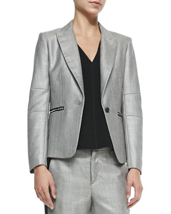 Alpine Wool-Blend Blazer with Zip Pockets