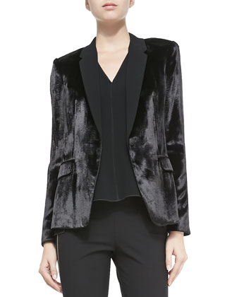 March One-Button Velvet Blazer