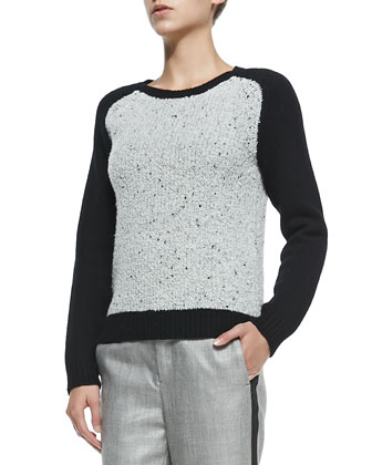 Portia Pullover with Solid Sleeves & Wool-Blend Trousers W/ Sport Stripe