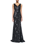 Sleeveless Floral-Sequined Mermaid Gown