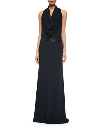Cowl-Neck Beaded-Waist Gown