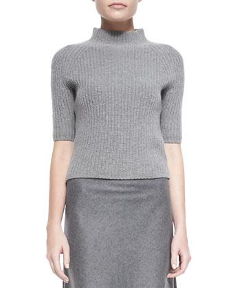 Belize Nest Washed Fur-Collar Jacket, Jodi Ribbed Knit Mock-Neck Sweater & ...