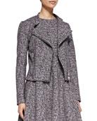 Kinde Front-Zip Tweed Jacket