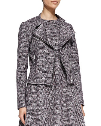 Kinde Front-Zip Tweed Jacket