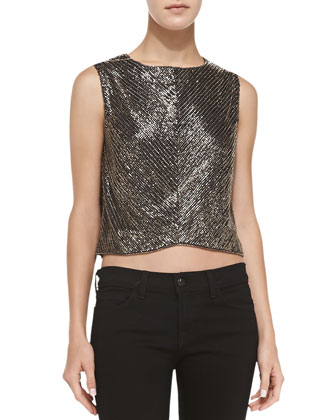 Myriame Sleeveless Beaded Crop Top