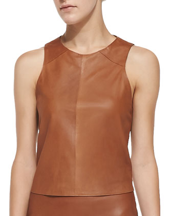 Clara Sleeveless Leather Top