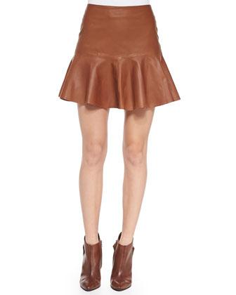 Paloma Flare-Hem Leather Skirt